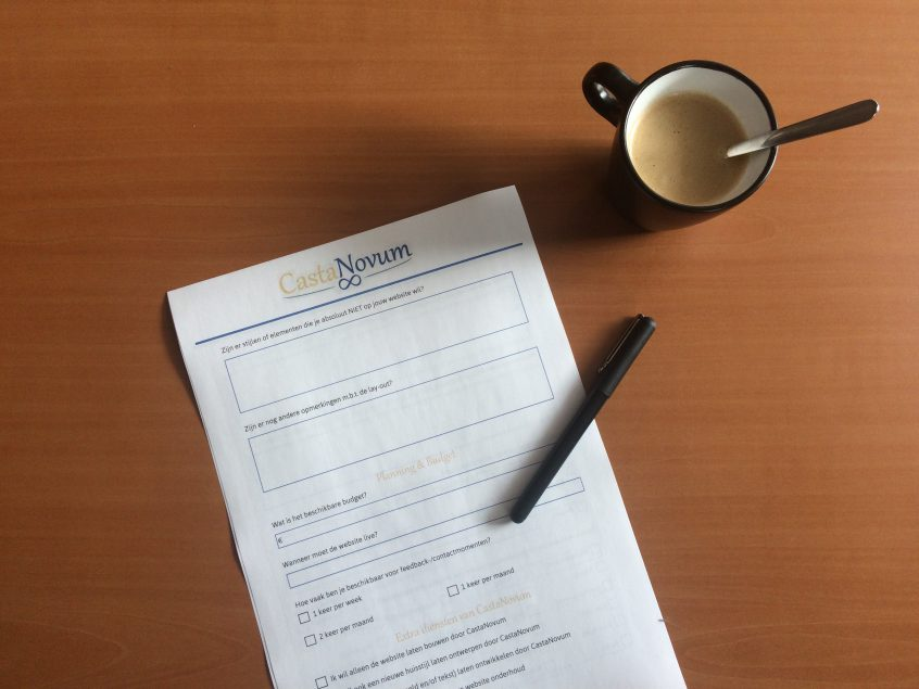 Formulier nieuwe website van marketingbureau CastaNovum